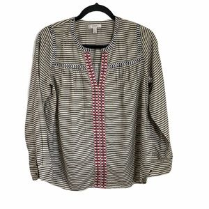 j crew cream blue striped embroidered blouse